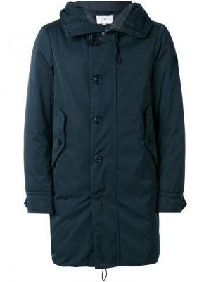 Пальто средней длины с капюшоном Peuterey. Цвет: синий