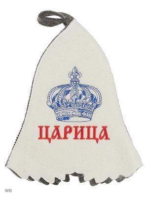 Шапка для бани с вышивкой в косметичке Царица Метиз. Цвет: белый, серый