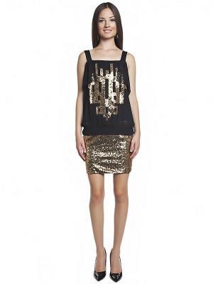 Платье TOPSANDTOPS. Цвет: золотистый, черный