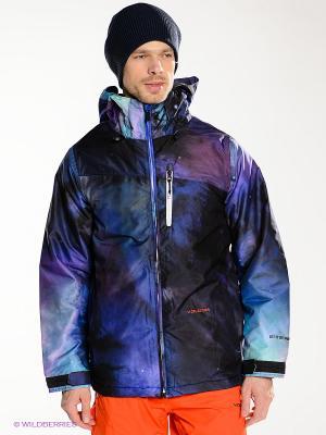 Куртка Volcom. Цвет: фиолетовый, черный, бирюзовый
