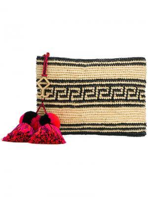 Плетеный клатч с кисточками Yosuzi. Цвет: телесный