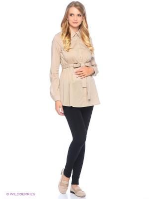 Блузка для беременных 40 недель. Цвет: бежевый