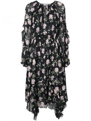 Платье в стиле бохо с цветочным принтом Ulla Johnson. Цвет: чёрный