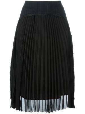 Плиссированная юбка миди Maison Margiela. Цвет: синий