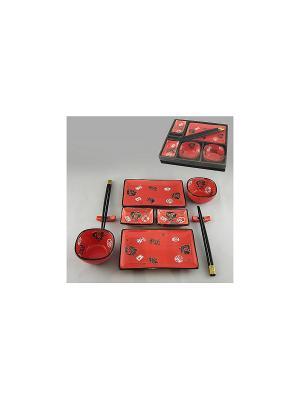 Набор для суши 10 пр. СИМВОЛЫ НА КРАСНОМ SAGURO. Цвет: красный