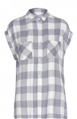 Блуза в клетку без рукавов с накладными карманами Rails. Цвет: белый