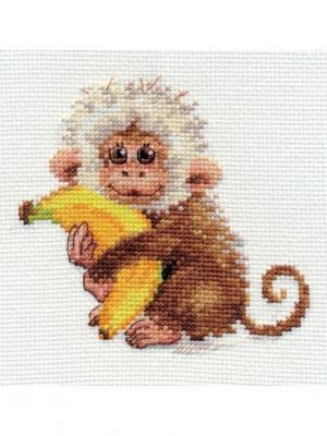 Набор для вышивания Обезьянка  12х11 см. Алиса. Цвет: белый,коричневый,желтый