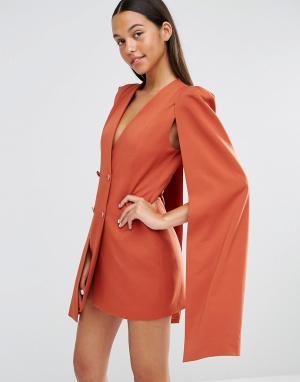 Lavish Alice Платье-накидка с разрезом сзади. Цвет: рыжий
