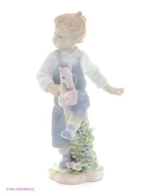 Фигурка Юный всадник Pavone. Цвет: белый, бледно-розовый, серо-голубой