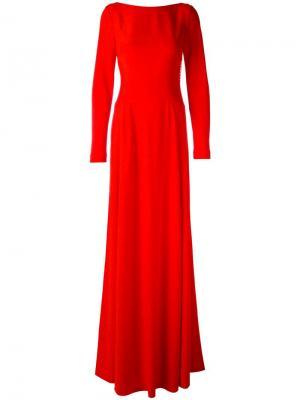 Длинное платье с вырезом на спине Antonio Berardi. Цвет: красный