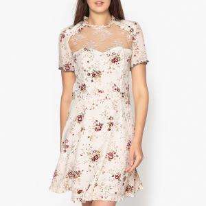 Платье шелковое с рисунком и кружевом THE KOOPLES. Цвет: экрю