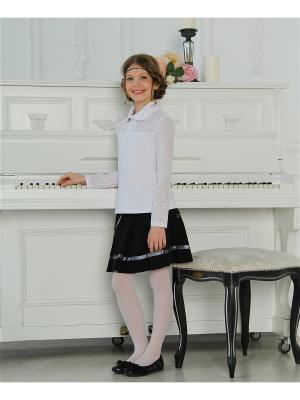 Блузка Гипюр-Трикотаж Красавушка. Цвет: белый