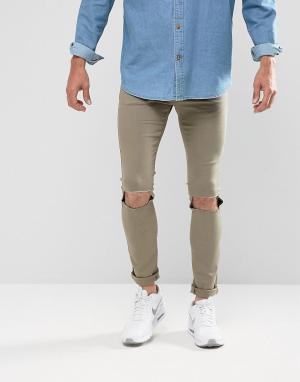 Brooklyn Supply Co. Выбеленные джинсы скинни цвета хаки с рваными коленями. Цвет: зеленый