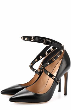 Кожаные туфли Studwrap с ремешками на шпильке Valentino. Цвет: черный
