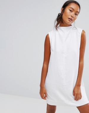 Waven Джинсовое платье с высоким воротом Ditte. Цвет: белый