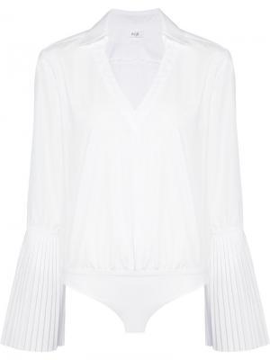Блузка с плиссированными рукавами Alix. Цвет: белый