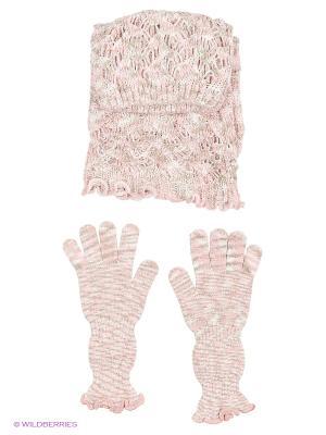 Шапка;  перчатки Krife. Цвет: розовый, серый