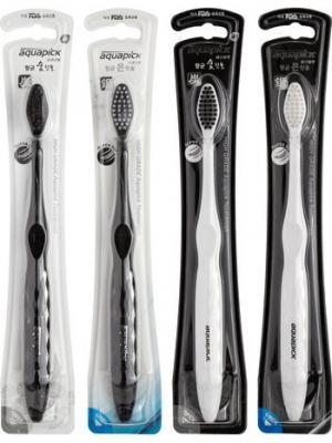 Набор  зубных щеток AT-С1 & AT-S1 Charcoal,Silver 4 шт.,Aquapick Aquapick. Цвет: синий, белый