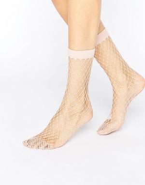 ASOS Розовые носки в крупную сетку. Цвет: розовый