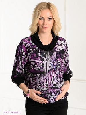 Блузка UNIOSTAR. Цвет: лиловый, черный