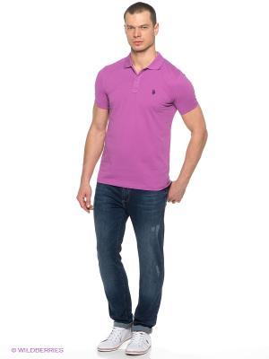 Футболка-поло U.S. Polo Assn.. Цвет: розовый, фиолетовый