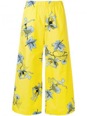 Укороченные брюки с цветочным принтом Vivetta. Цвет: жёлтый и оранжевый