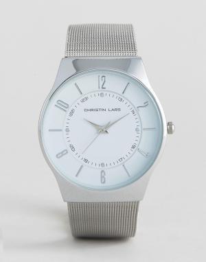 Christin Lars Серебристые часы с круглым белым циферблатом. Цвет: серебряный