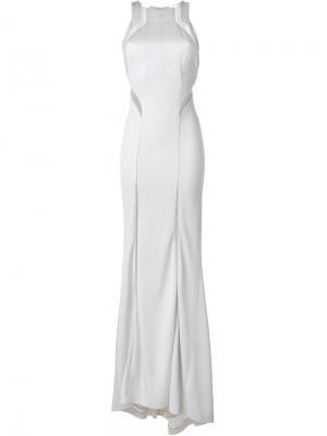 Длинное платье с прозрачными вставками Galvan. Цвет: серый