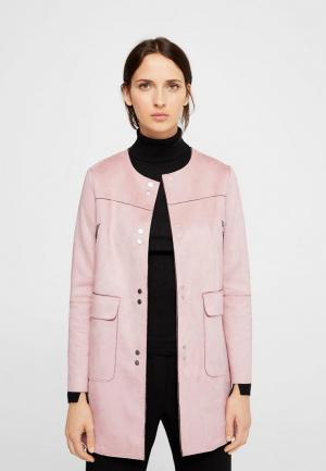 Пальто Mango. Цвет: розовый