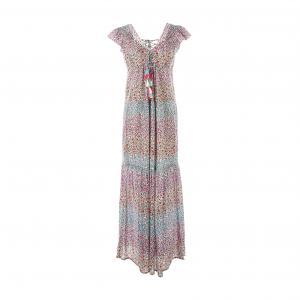 Платье длинное, с короткими рукавами RENE DERHY. Цвет: наб. рисунок/ розовый