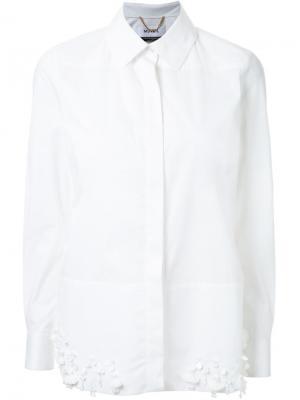 Рубашка с декорированным подолом Muveil. Цвет: белый