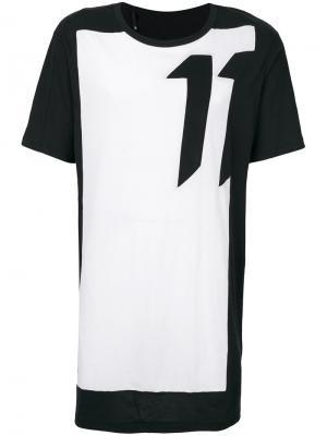 Двухцветная футболка 11 By Boris Bidjan Saberi. Цвет: чёрный