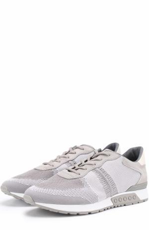 Текстильные кроссовки с перфорацией и замшевой отделкой Tod's. Цвет: серый