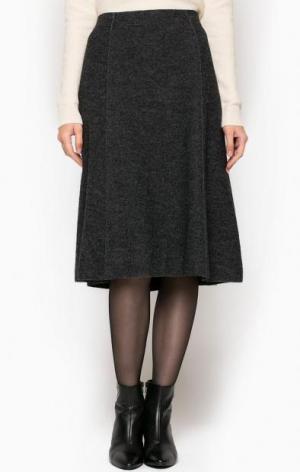 Расклешенная шерстяная юбка серого цвета Marc O'Polo. Цвет: серый