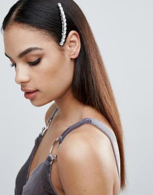 Krystal Заколка с кристаллами Swarovski London. Цвет: серебряный