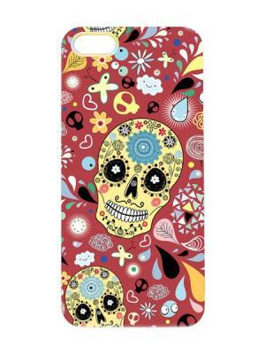 Чехол для iPhone 5/5s Цветочный череп Арт. IP5-036 Chocopony. Цвет: красный, желтый, черный