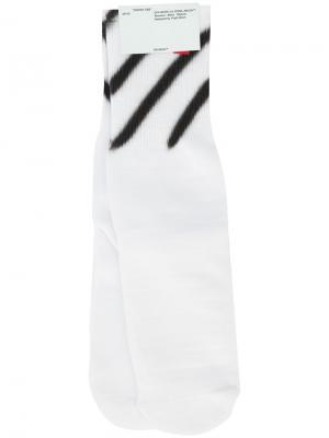 Носки с принтом Diagonals Off-White. Цвет: белый