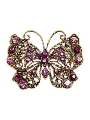 Брошь Kameo-bis. Цвет: фиолетовый, розовый, золотистый