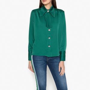Рубашка приталенная однотонная с галстуком-бантом SISTER JANE. Цвет: зеленый