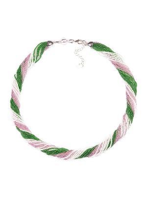 Бисерное ожерелье Bottega Murano. Цвет: зеленый, белый, розовый