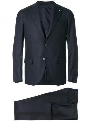 Строгий костюм Lardini. Цвет: синий