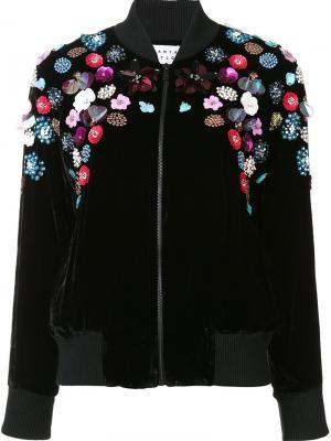 Куртка-бомбер с цветочной аппликацией Tanya Taylor. Цвет: чёрный