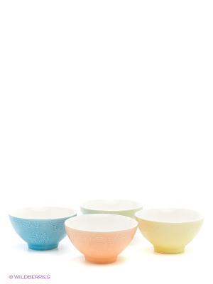 Набор салатников Кружево Elan Gallery. Цвет: салатовый, голубой, оранжевый, желтый