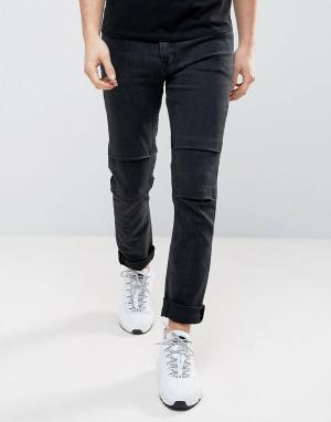 ASOS Выбеленные черные байкерские джинсы скинни. Цвет: черный