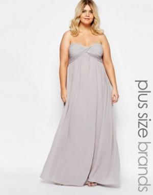 Truly You Платье макси с лифом-бандо. Цвет: серый
