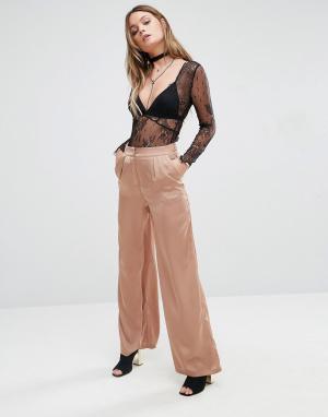 Glamorous Брюки с завышенной талией и широкими штанинами. Цвет: медный