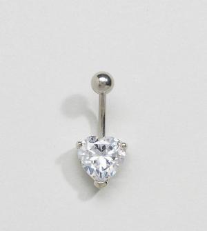 Kingsley Ryan Украшение для пирсинга пупка серебристого цвета с сердцем Rya. Цвет: серебряный