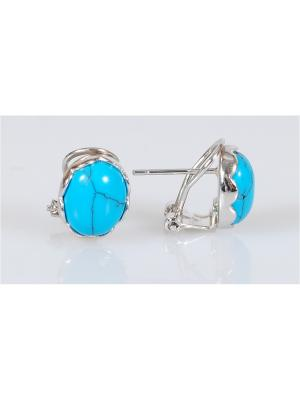 Серьги Lotus Jewelry. Цвет: серебристый, синий