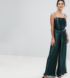 Finders Keepers Эксклюзивные широкие брюки с плиссировкой. Цвет: зеленый
