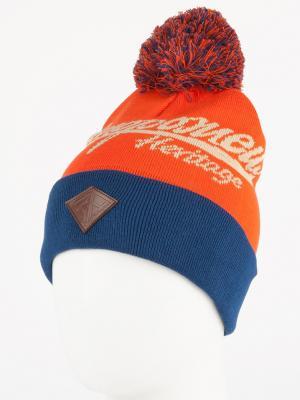 Шапка ЗАПОРОЖЕЦ Original Logo Pom FW16. Цвет: оранжевый, синий, темно-синий